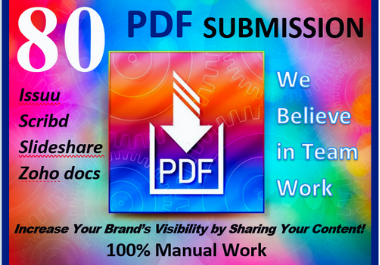80 PDF Submission Exclusive High authority website Do follow backlinks permanent link building