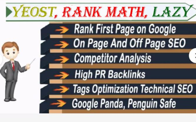 setup onpage offpage seo with yeost,  rankmath,  lazy load