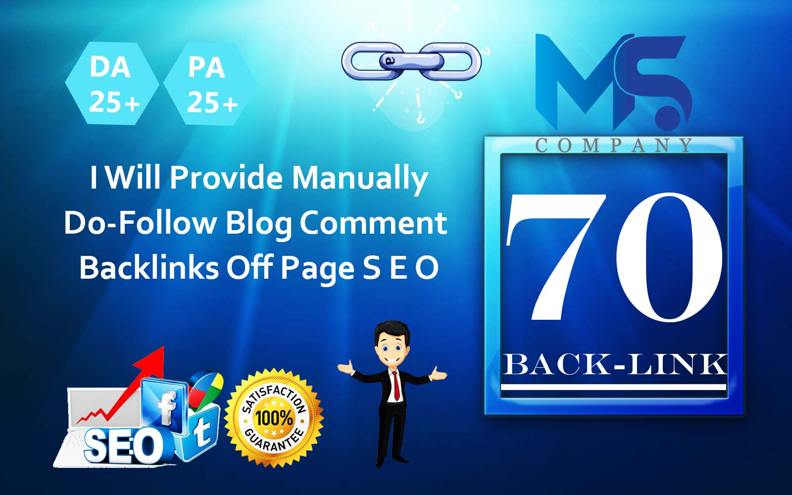 I will create 70 Unique domain dofollow backlinks off page seo