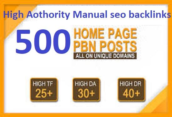 I will Make 500 High DA PA CF TF Authority Homepage PBN dofollow backlinks