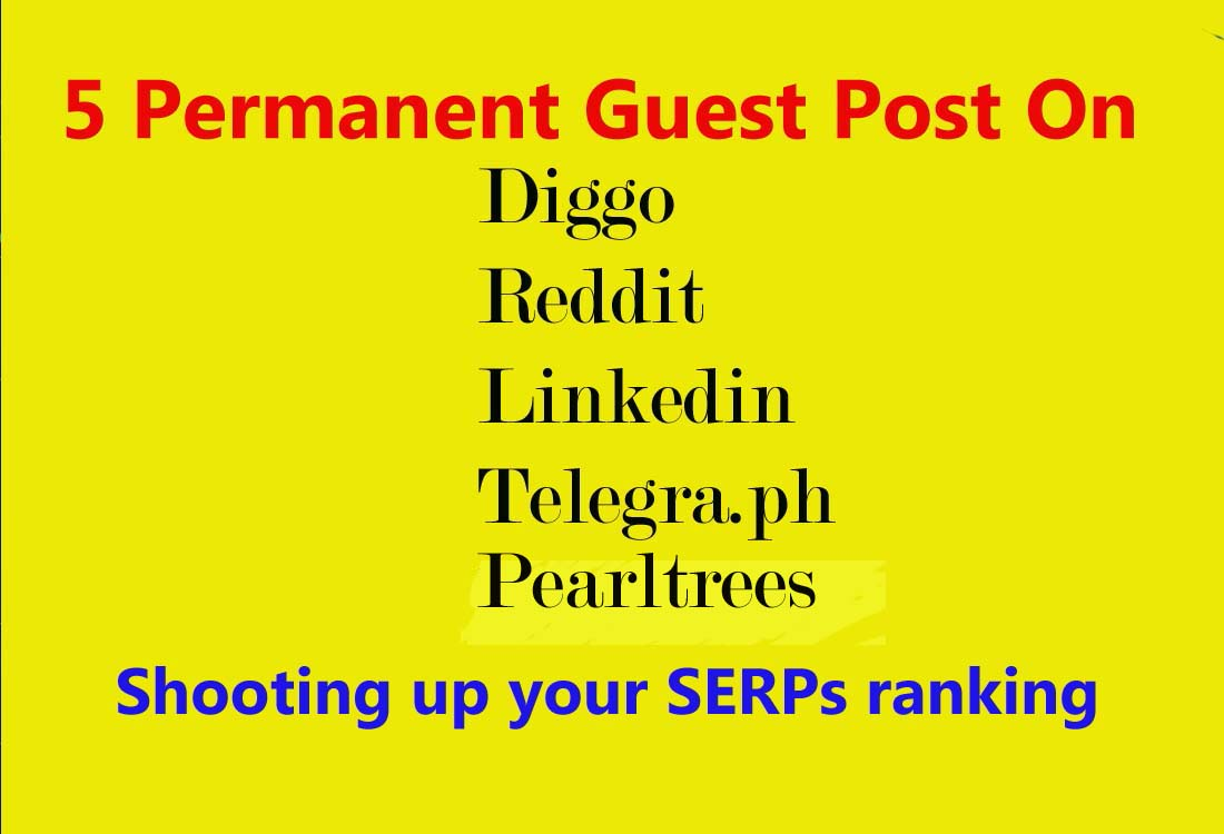 I Will Do 5 Permanent Guest Post on Diigo, Reddit, Linkedin, Telegra. ph, Pearltrees. com