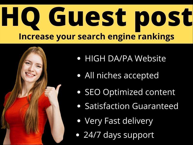 I will write & Publish 10 Guest post Unique Content on High DA site permanent backlink