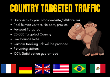 Country Targeted 20,000 Web Traffic For Sales