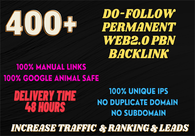 I will do 400+ web2.0 PBN Backlink in your website homage with HIGH DA/PA/TF/CF