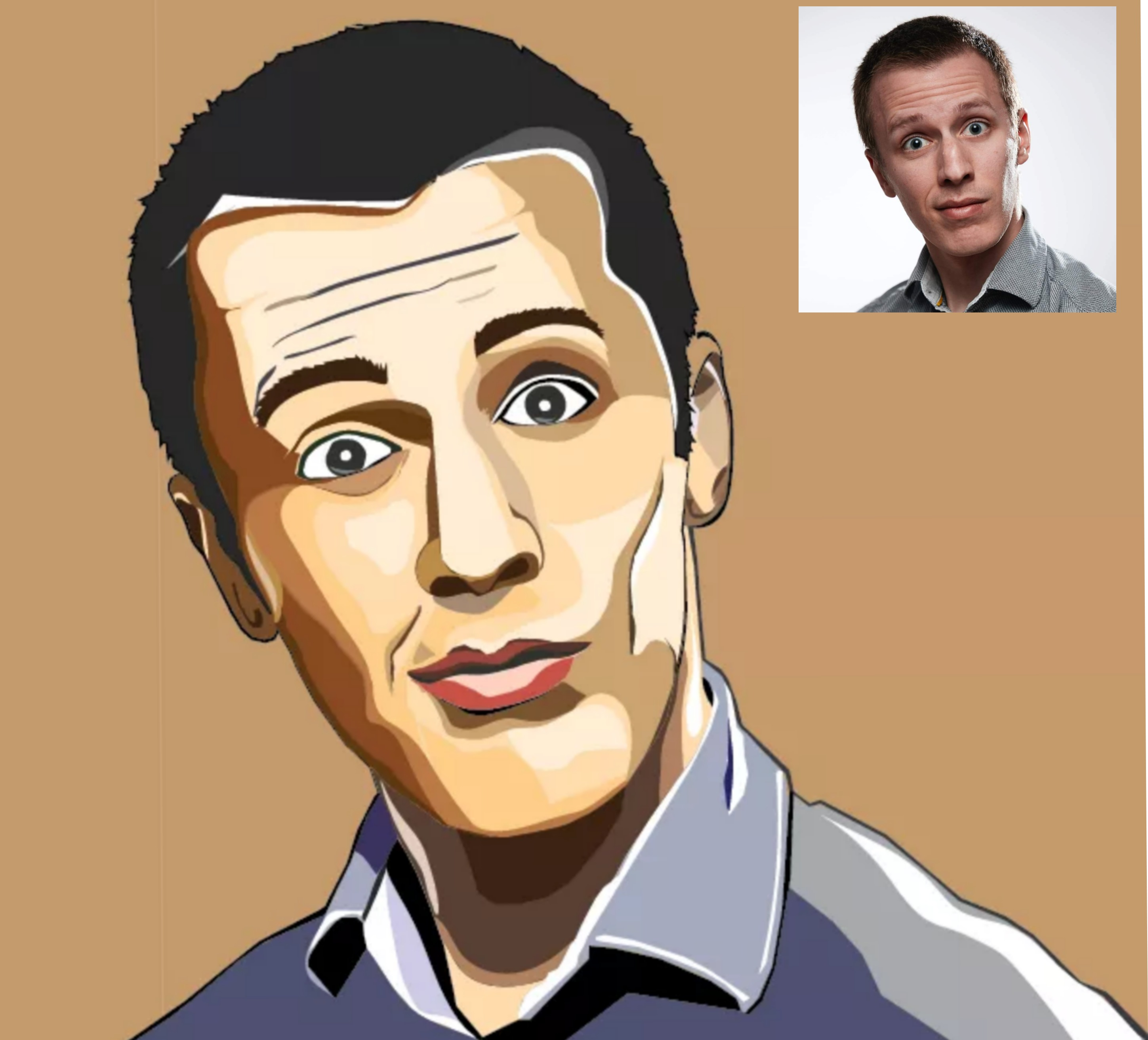 I will draw cartoon vector portrait traceable for your photo