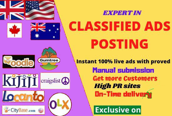 I will post 100 top classified ad posting sites and 20 Social Bookmarking