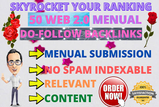 I will land on google 1st page with high da web 2 0 backlinks