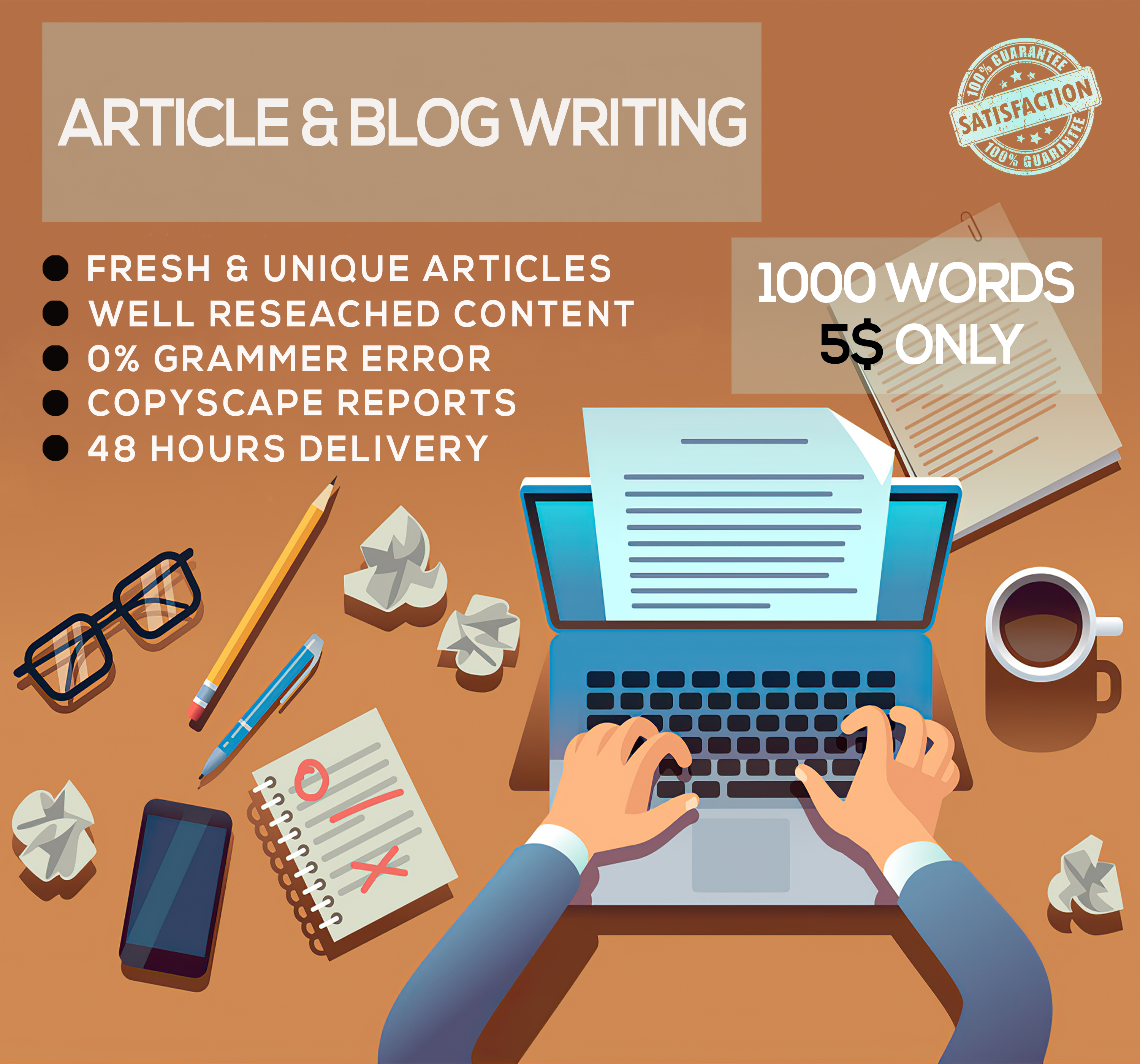 I will write unique articles & blogs up to 1000 words for you within 48 hours