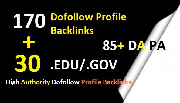 I will create 170 Unique Domain PR9 DA 85 TO 100 30 Edu Gov SEO Profile Backlinks