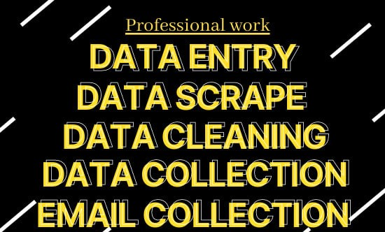 I will do all data entry jobs,  data scraping and email collection