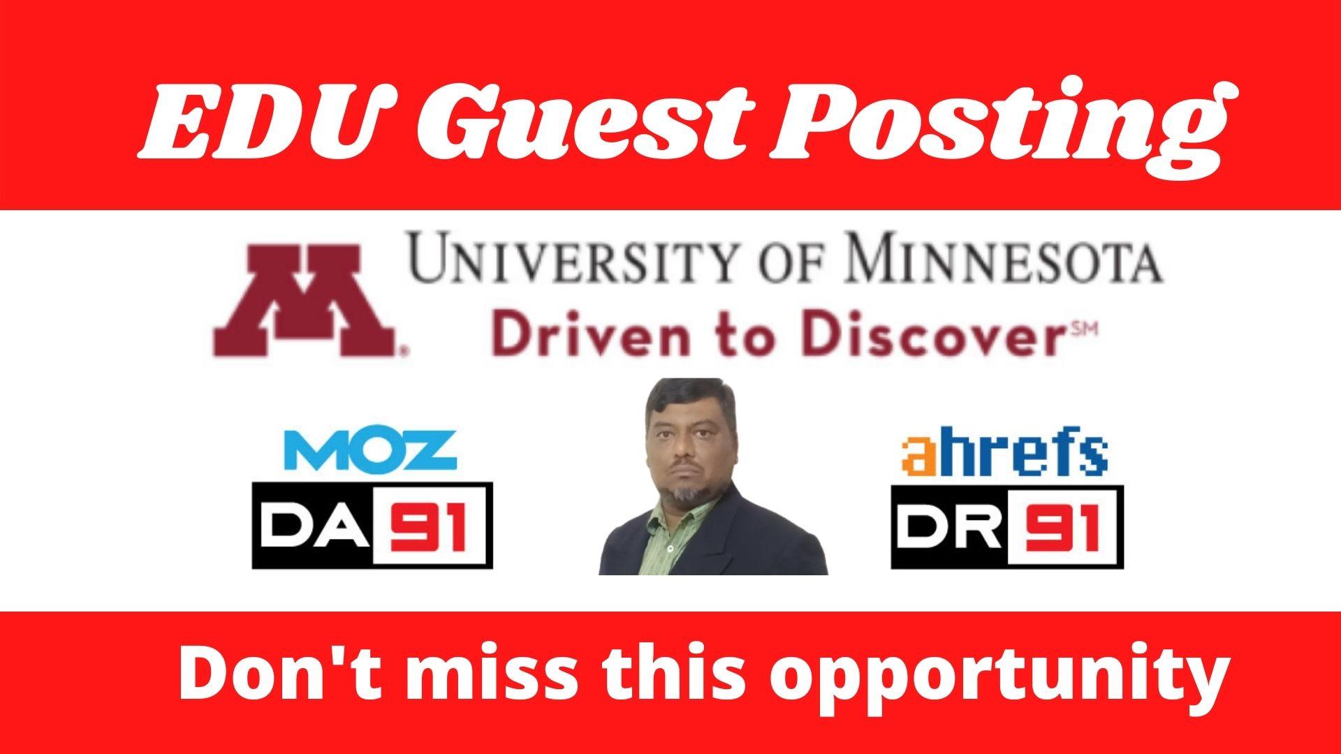 Edu Guest Post on UMN. edu DA91,  DR91 DoFoIIow Link