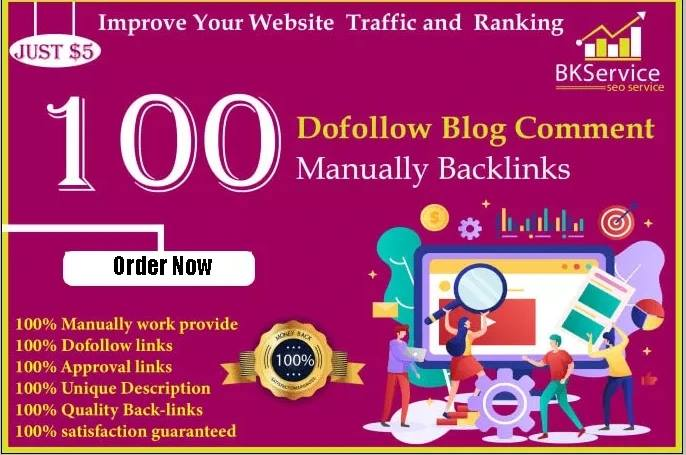 I will provide 100 high quality SEO backlinks Using blog comments on 65+ DA sites