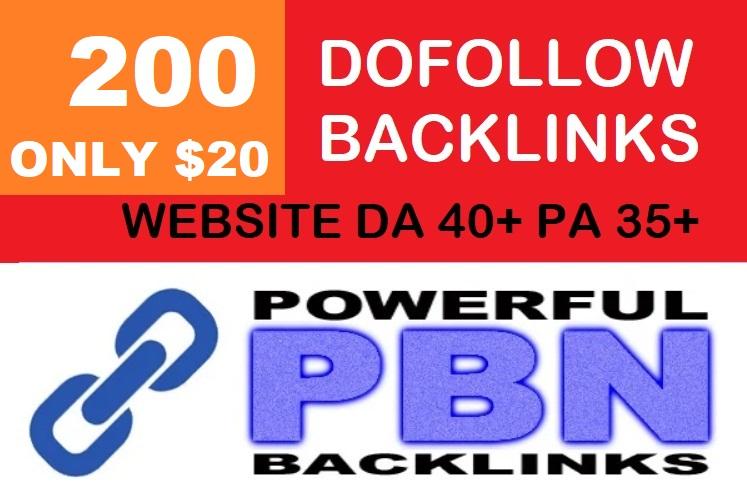 I will do 200 Dofollow Backlinks With DA 40+ PA 35+ Powerful Web 2.0 PBN