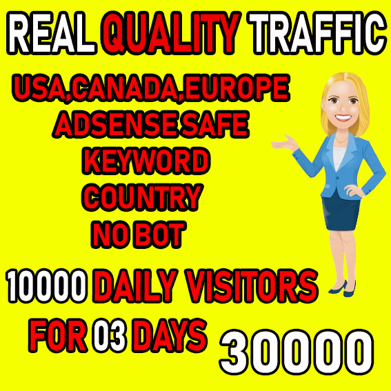I will send keyword target real visitors from USA,  Canada,  Europe