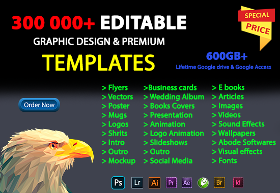 I will give premium editing templates and stock item