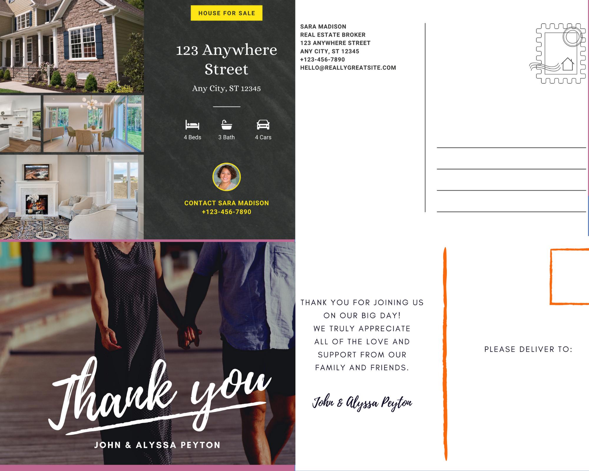I will design any size print ready postcard