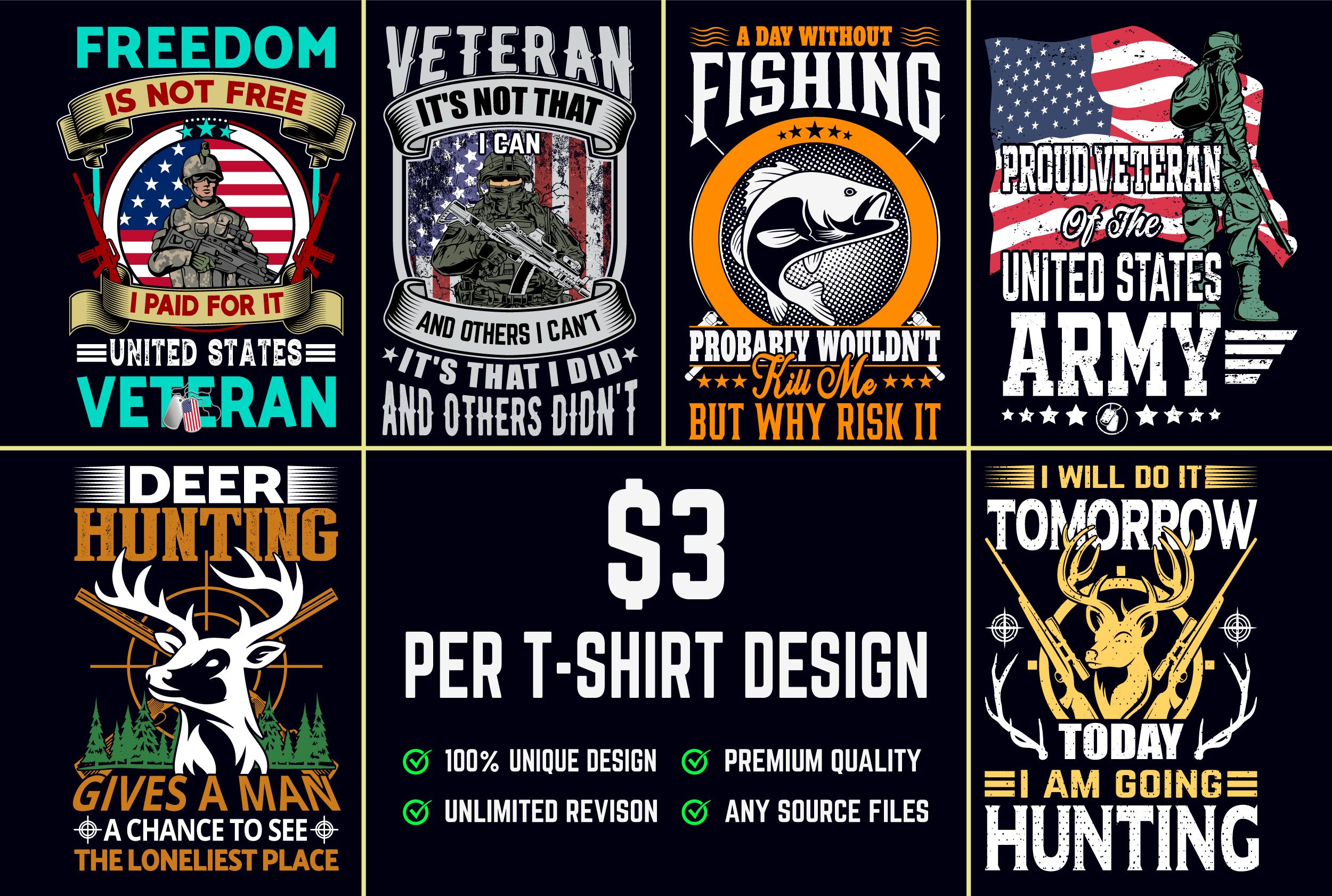 I will do trendy bulk t shirt and merchandise design
