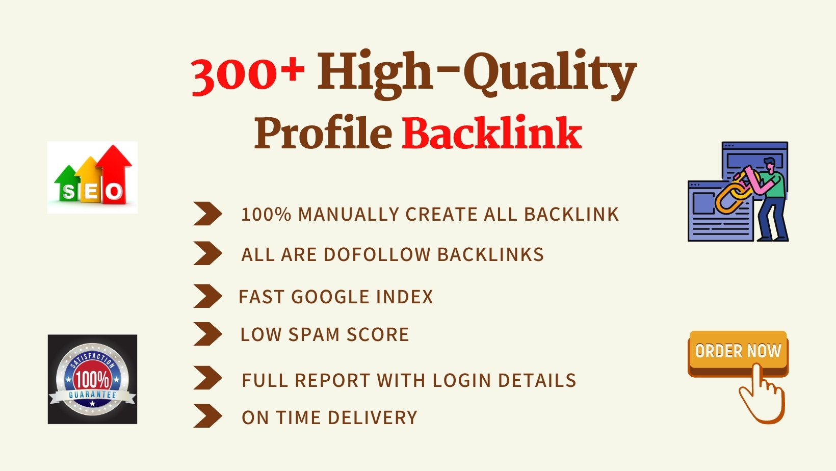 I will create 50 high profile backlinks manually.