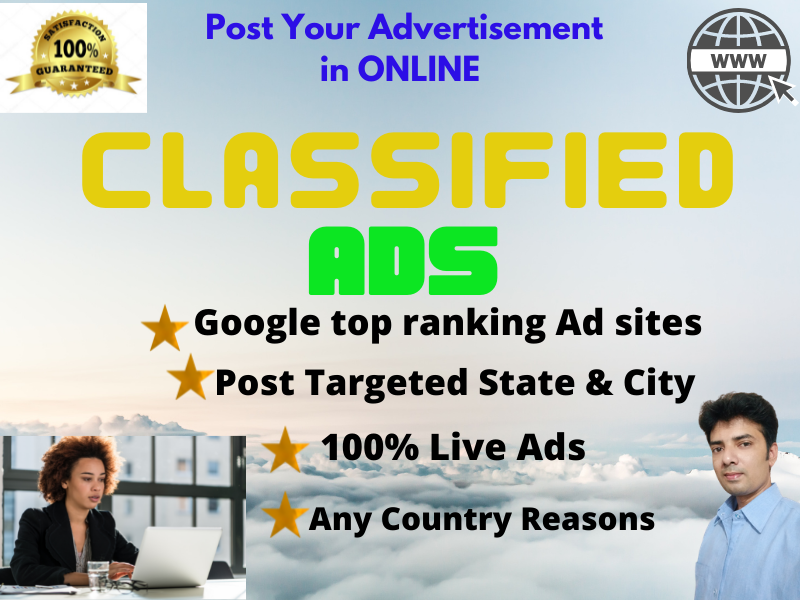 I will Post Your 40 Ads High Quality on Google Top Ranking CLASSIFIED Ads Posting Sites.