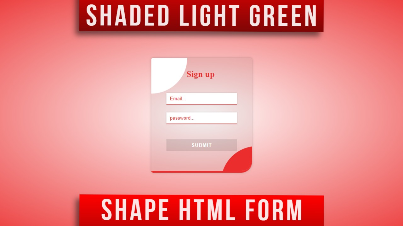 Transparent light red html form template