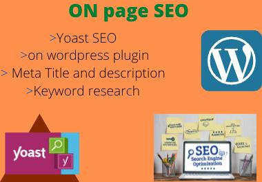 I will do ON page SEO optimization WordPress using Yoast
