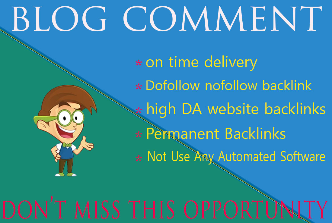 I will manually create 100 dofollow blog comments backlinks.
