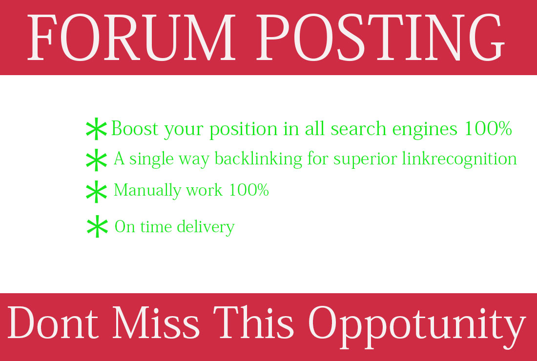 Provide 25 Manual Forums Posting Backlinks increase your website ranking