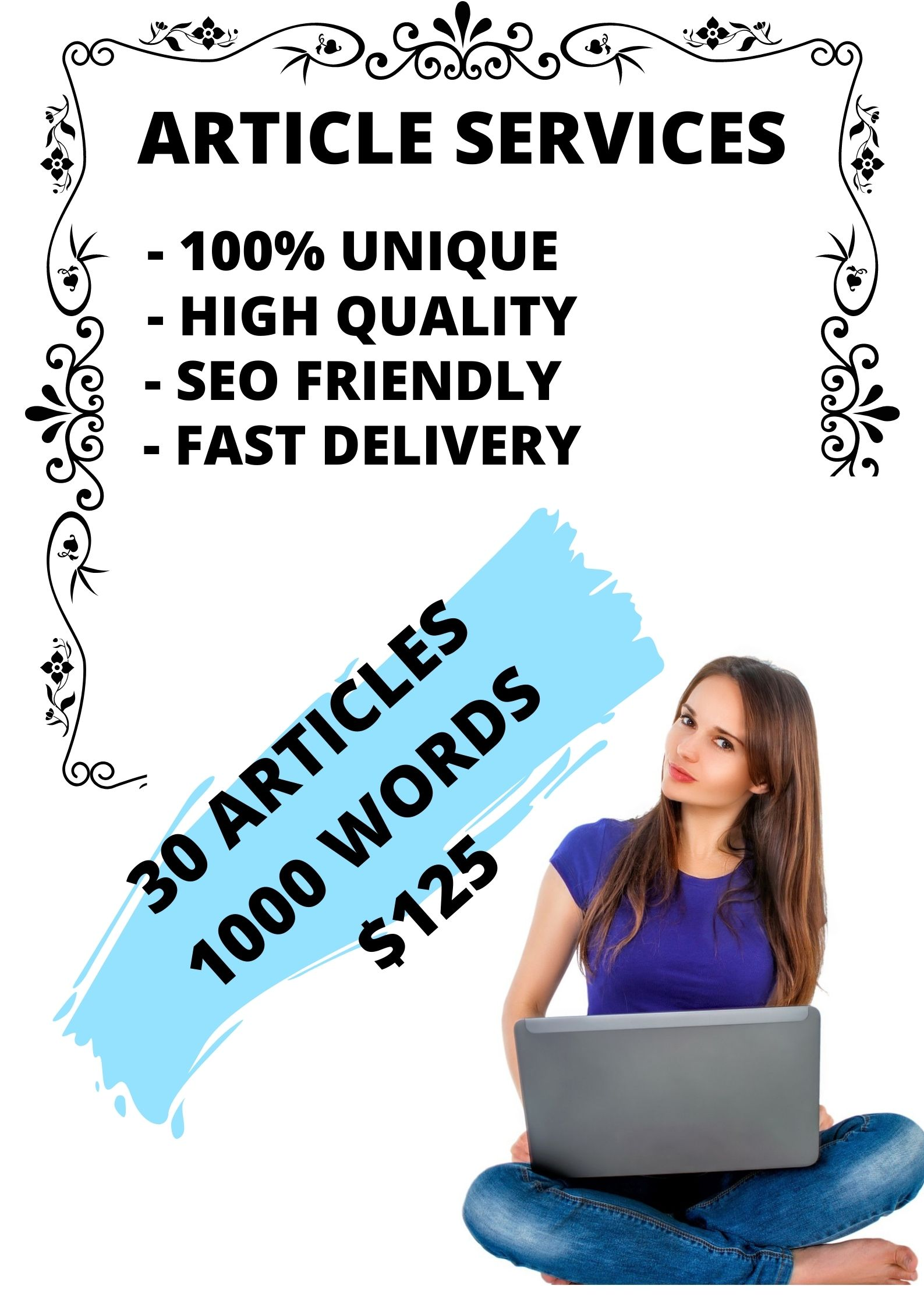 I will write 30 articles with 1000 seo-optimized words / article,  SEO Booster,  100 percent unique