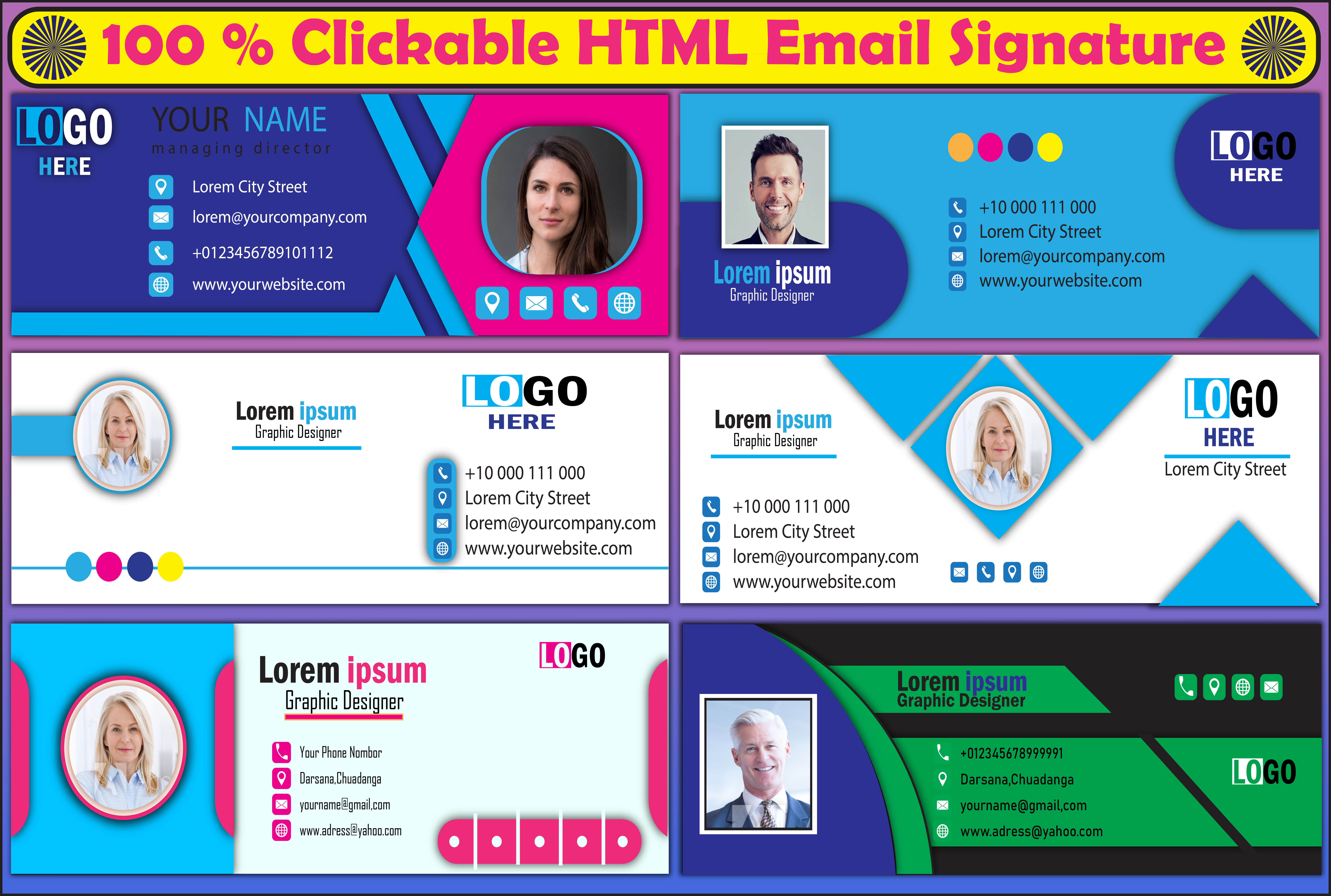 I will do a professional clickable HTML email signature
