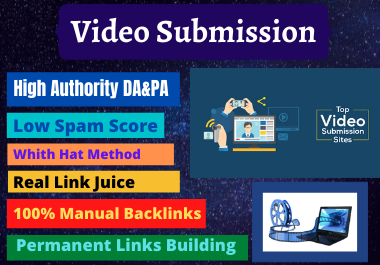 50 Video Submission backlinks high authority permanent do follow link building for 5.