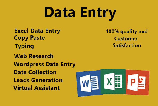 Data entry web research copy paste typing job