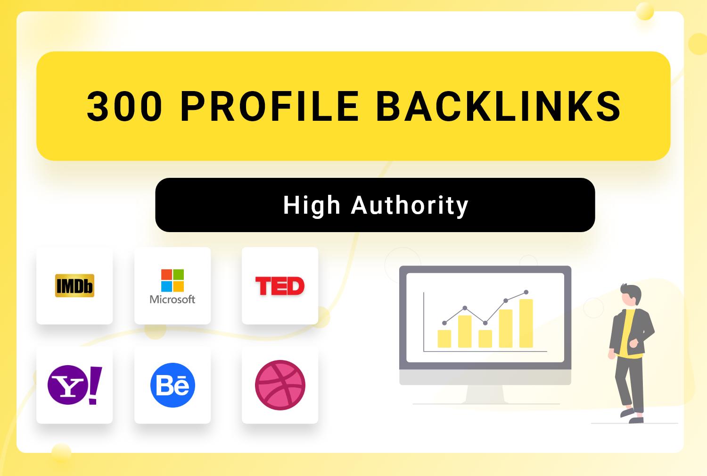 Get 300 High authority SEO profile backlinks