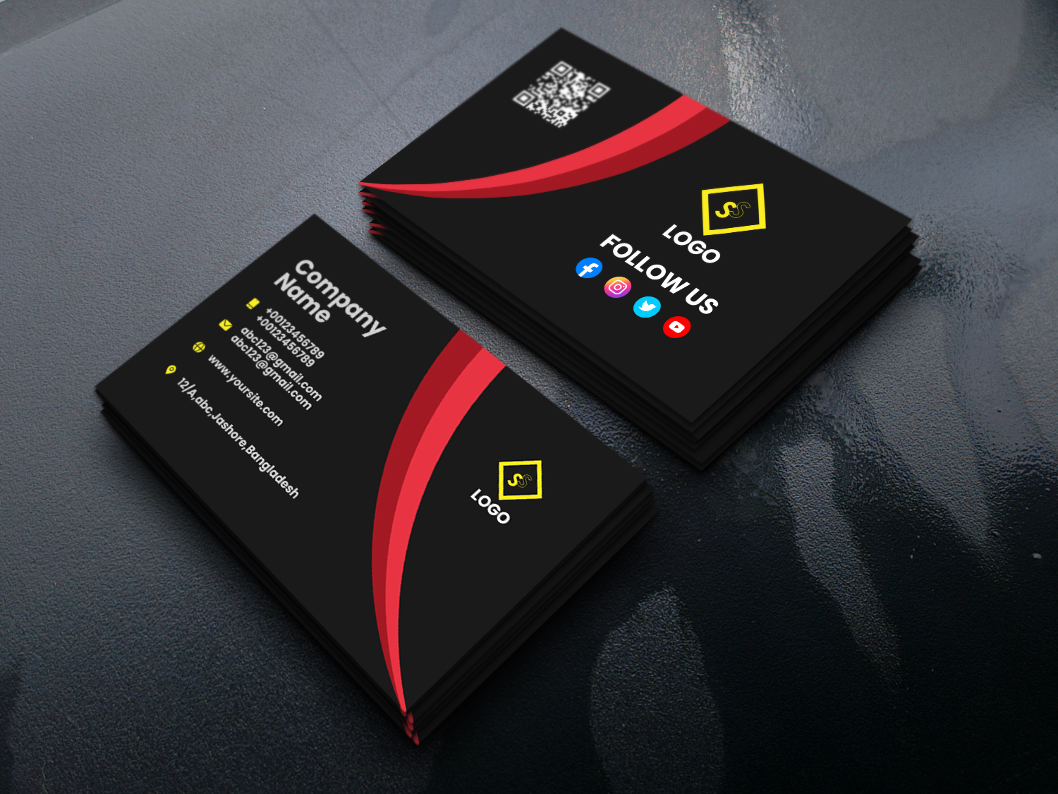 I will design professional business card and do 3 realistic mockups