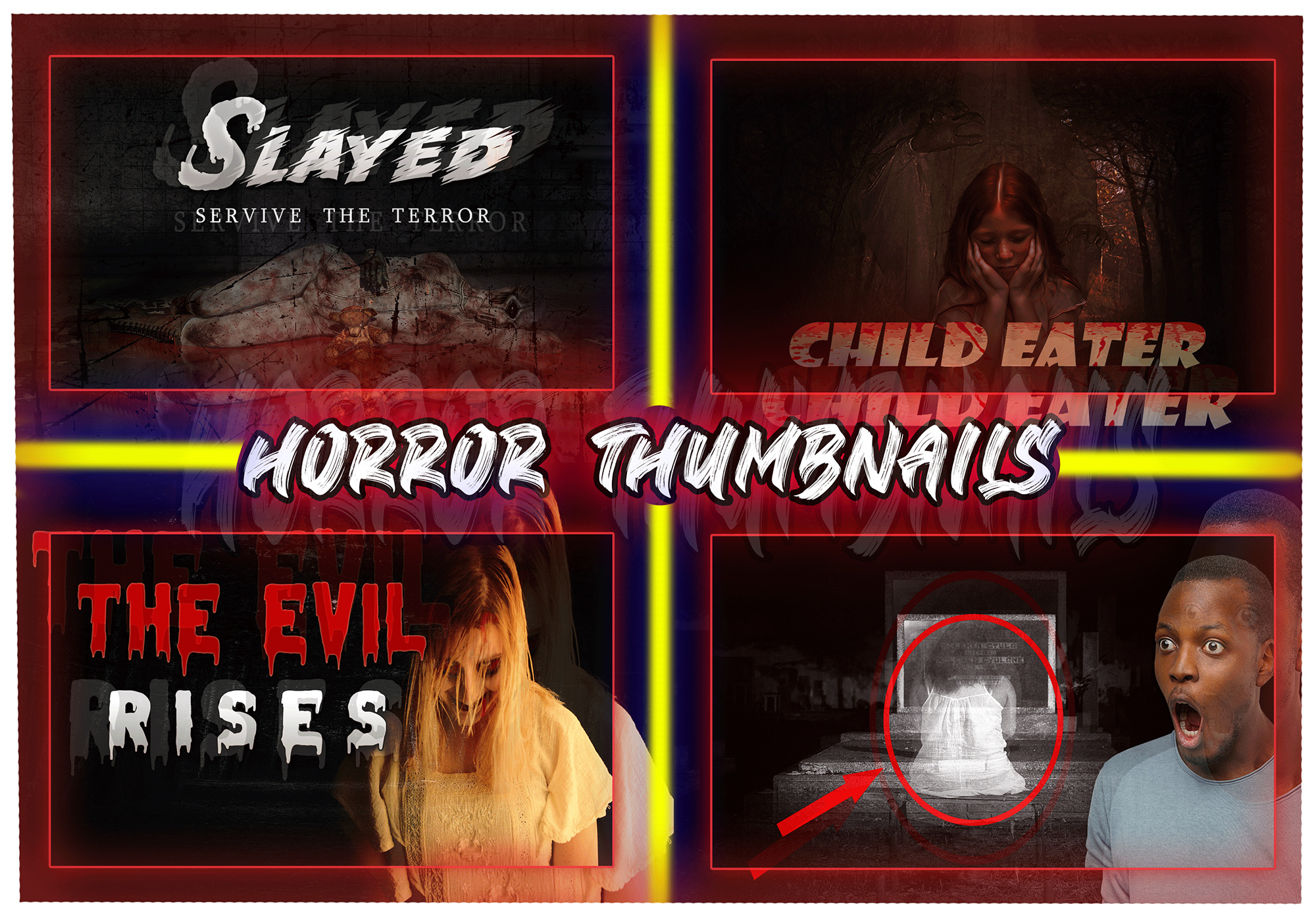 I will create horror youtube thumbnail in 2 hours