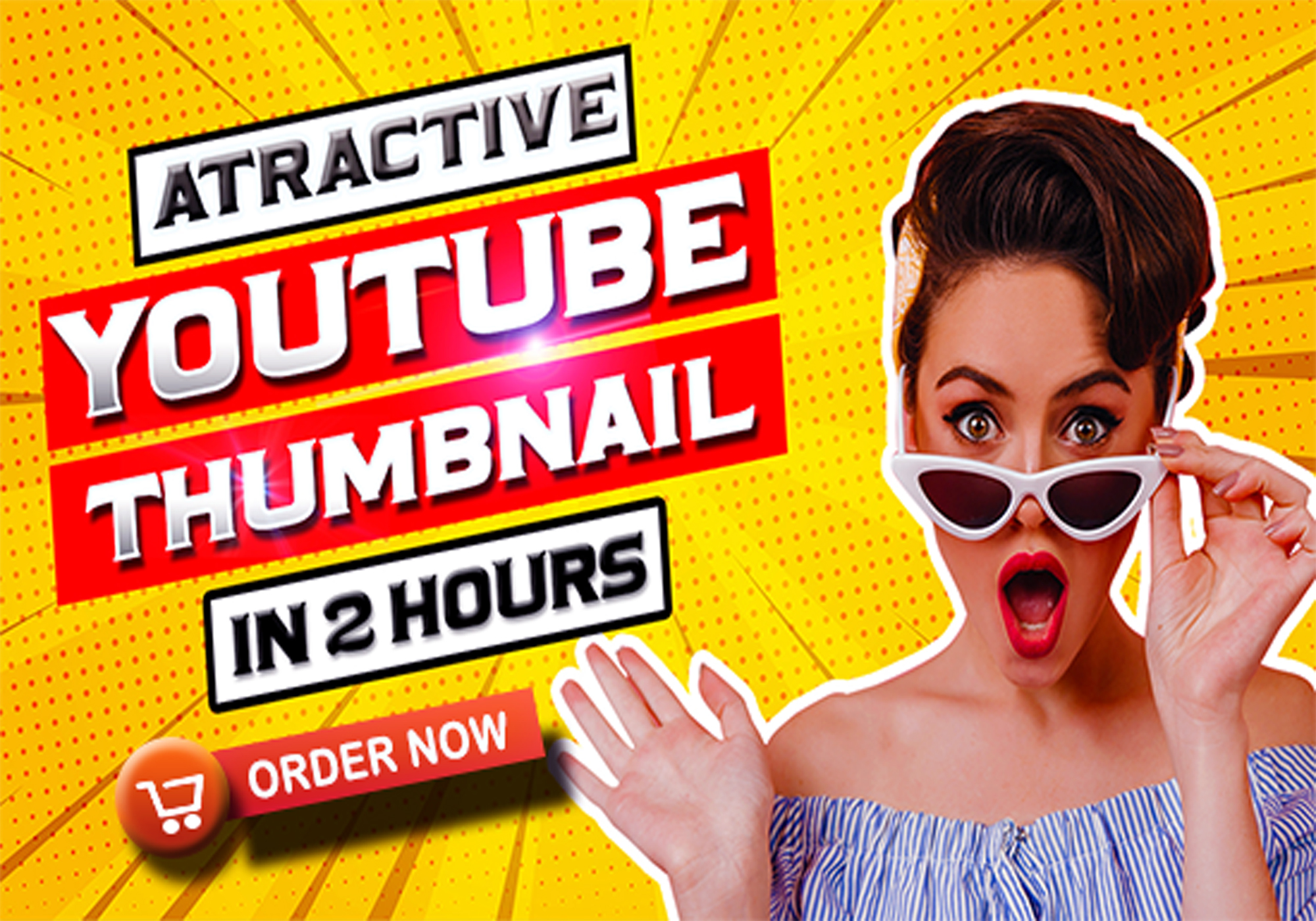 I will design attractive youtube thumbnail in 2 hours