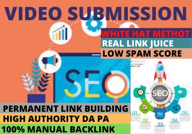 I will provide 80 Video Submission high authority permanent dofollow backlinks high DA websites