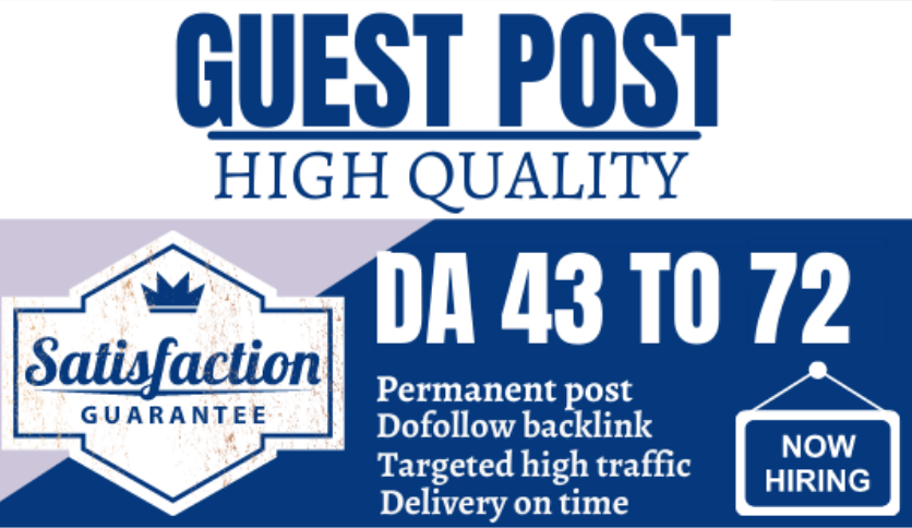 I will publish the high quality guest post with dofollow backlinks