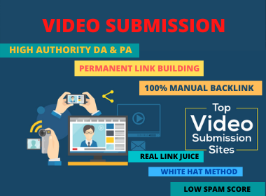 Live 50 Video Submission Backlinks Link building High Authority Permanent Dofollow