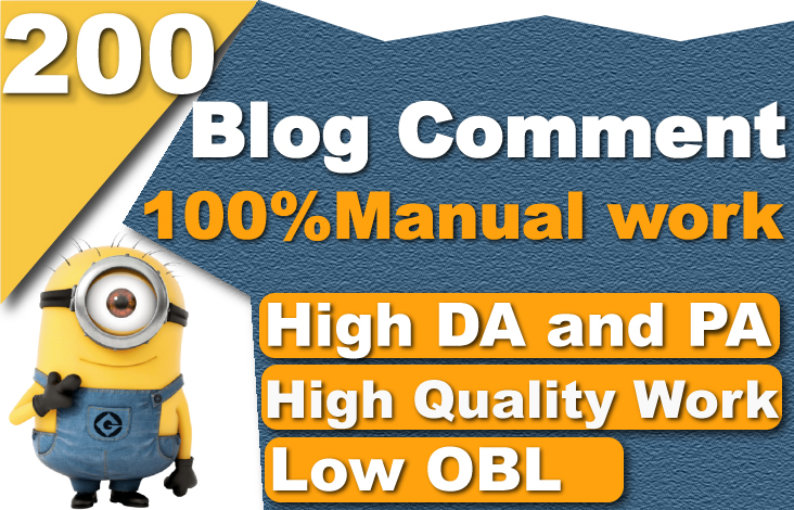 I will create 200 dofollow blog comment high quality low obl seo backlinks