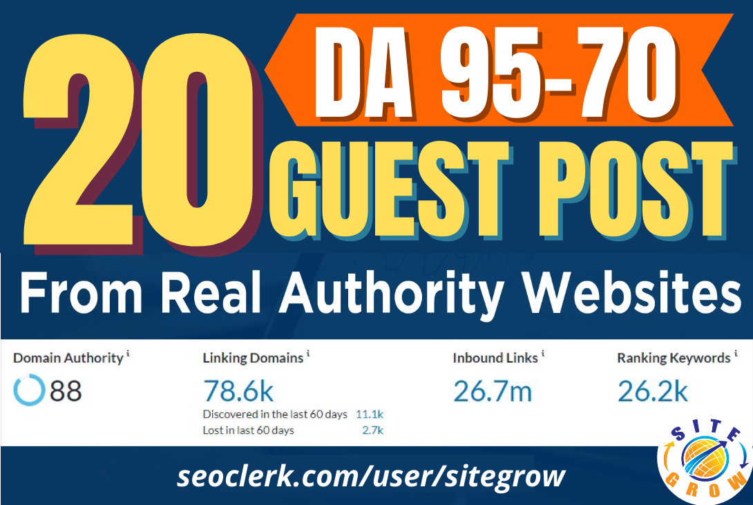 I will Write and Publish 20 HQ Guest Post With Your Relevant Niches on DA 95 to 70 Sites