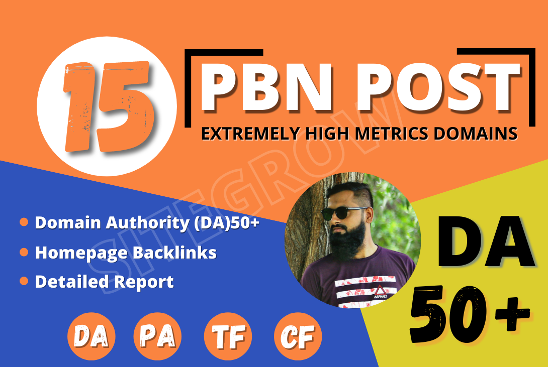 I Will Build 15 High DA50+ Permanent HomePage PBN Backlinks - Dofollow Quality Links