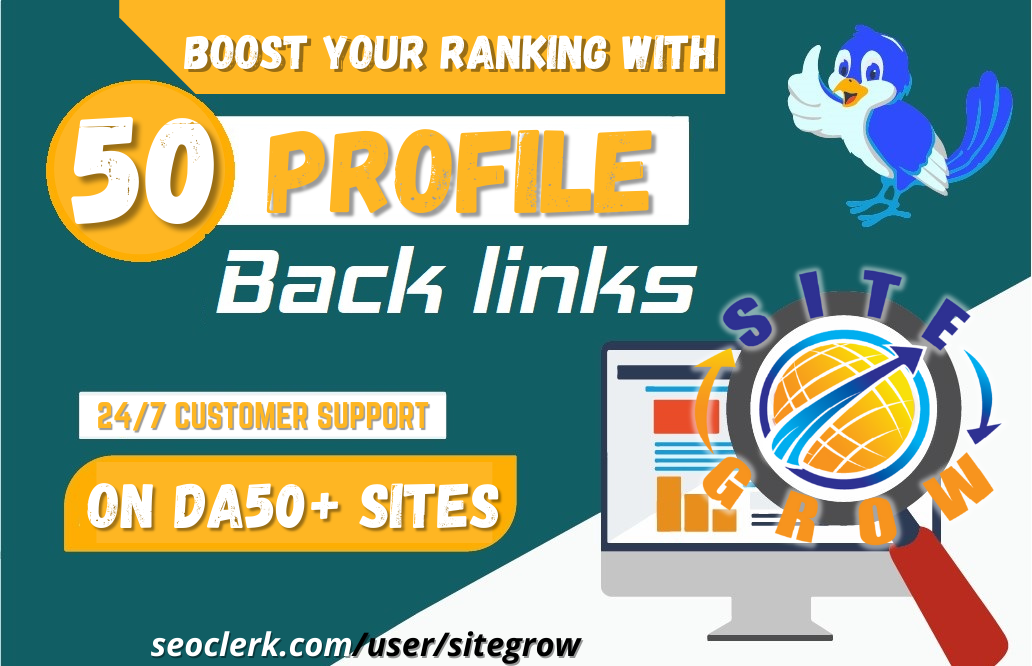 Build 50 High Quality Unique Profile Backlinks on HIGH DA PA Sites