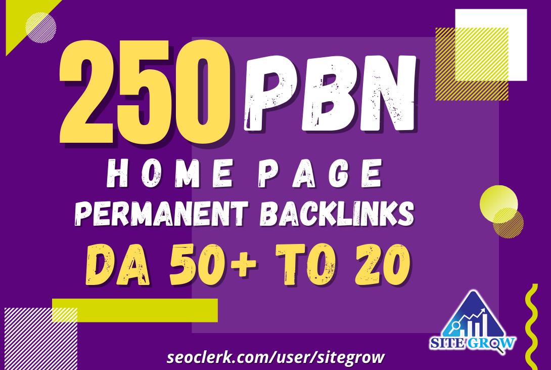 Build 250 Unique Homepage Permanent Dofollow PBN Links DA50+