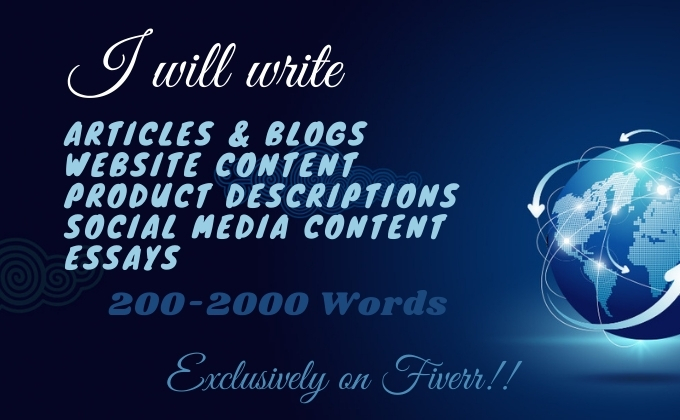 I will do 1000 words article, blog, and content writing for website, social media, and blog post