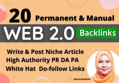 20 Blog web 2.0 Contextual Backlinks manual and Permanent do follow High Authority sites