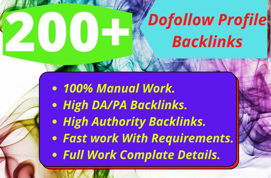 I will create 200+ high quality manual profile backlinks.