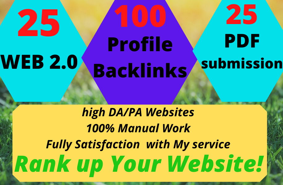 I Will Provide 100 Profile Backlink, 25 Web 2.0 and 25 PDF Submission with 100 manual work.