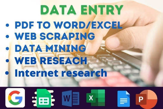 I will do data entry for excel,  word and other works that realted with data