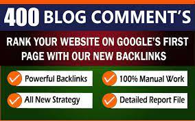 400 Unique domain Dofollow blog Comments Linkbuilding Backlinks High DA PA google SEO Ranking