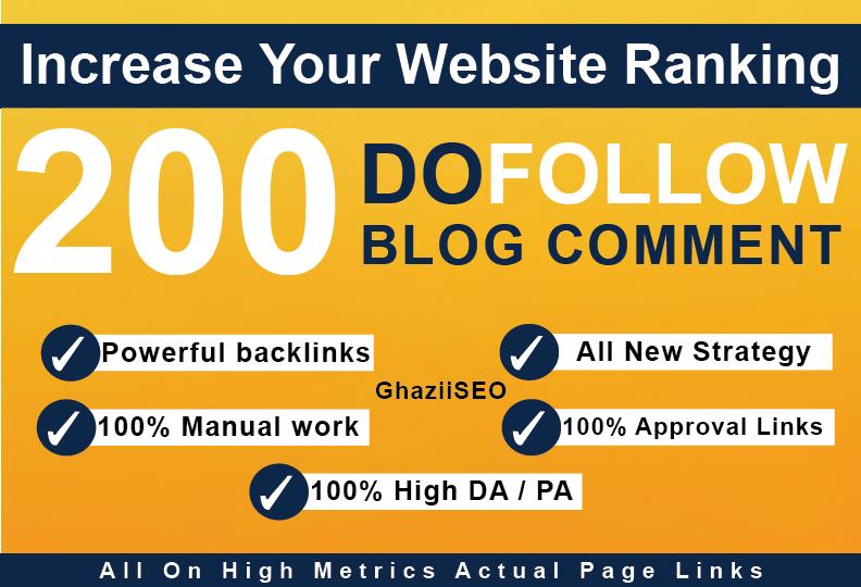 200 Unique domain Dofollow blog Comments Linkbuilding Backlinks High DA PA google SEO Ranking